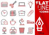 Editable stroke. Simple Set of Office vector flat line Icons - calendar, scissors, notebook, bulb, clock, folders, suitcase, buckle, communication, mug, lamp, stapler, chairs, printer - 209126514