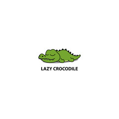 Lazy crocodile sleeping icon, logo design, vector illustration