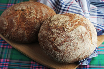 Two loaves of rye brown bread