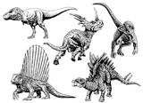 Graphical set of dinosaurs isolated on white  background,vector tattoo illustration,outline