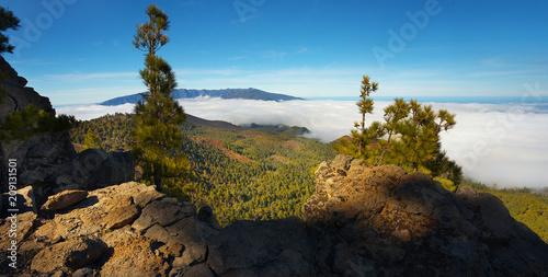 Fotobehang Zwart Landscape in the Island of La Palma with a crater Caldera de Taburiente on backgroud, Canary Islands, Spain