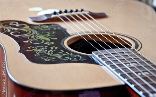 Acoustic guitar top with dust - 209136700