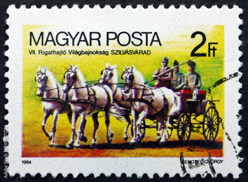 Foto Murales Postage stamp Hungary 1984 Horse-drawn Wagon