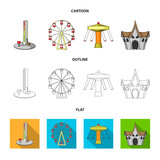 The device with a bat for measuring strength, a ferris wheel, a carousel, a house with windows. Amusement park set collection icons in cartoon,outline,flat style vector symbol stock illustration web. - 209140515