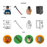 Photo of criminal, scrap, open safe, directional gun.Crime set collection icons in cartoon,outline,flat style vector symbol stock illustration web. - 209140708