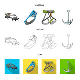 Hook, mountaineer harness, insurance and other equipment.Mountaineering set collection icons in cartoon,outline,flat style vector symbol stock illustration web.