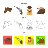 Head of a horse, a bull's head, a revolver, a cowboy girl. Rodeo set collection icons in cartoon,outline,flat style vector symbol stock illustration web.