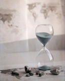 Artwork in retro style, Preparation for the vacation, time is running out, world map, sand glass, sea shells - 209149709