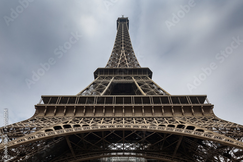 Fotobehang Eiffeltoren Close up view of the famous Eiffel Tower in Paris France