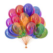 colorful balloons, birthday party decoration multicolor. helium balloon bunch glossy different colors. Holiday, anniversary celebration greeting card. 3d illustration