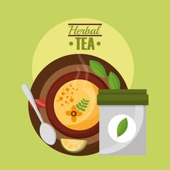herbal tea top view cup lemon spoon and teabag vector illustration