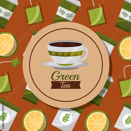 green tea foral ceramic cup and lemon teabag background vector illustration