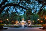 Oaks framing Forsyth Park fountain in Savannah at Dusk - 209155183