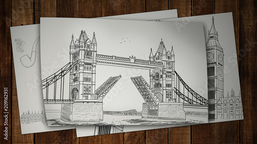 Fotobehang London Illustration drawing paper tower of London bridge . 3D rendering.