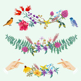 Hands and flowers cute decorative set - 209165565