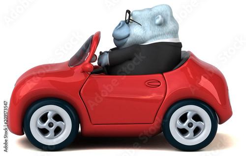 Fun white gorilla - 3D Illustration