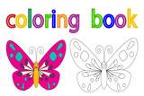 vector, isolated, book coloring, butterfly