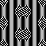 Vector seamless pattern. Modern stylish texture. Repeating monochrome pattern. Wavy lines on a background of vertical stripes. - 209176135