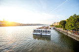 Landscape view on Danube river with tourist ship during the sunset in Budapest city, Hungary - 209178111