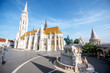 Morning view on the famous Matthias church with bronze statue of Stephen in Budapest, Hungary