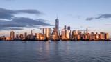 New york city skyline daytime sun clouds blue golden hour - 209178541