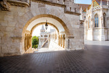 Morning view on the arch of Fisherman's bastion and Mattias church in Budapest, Hungary - 209178755