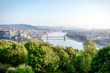 Panoramic aerial view on Budapest city with Danube river during the morning light in Hungary - 209179793