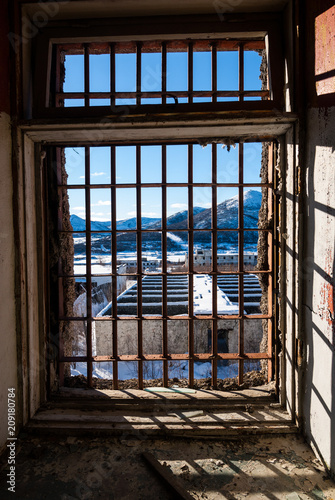 View through latticed window - 209180784