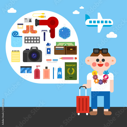 travel character and luggage object icons vector flat graphic design illustration set