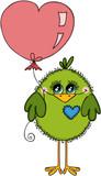 Cute green bird holding a heart shaped balloon