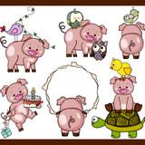 Cute pig set digital elements