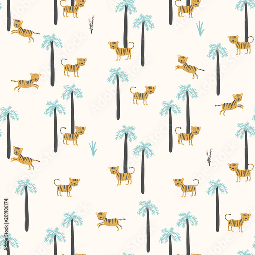 Poster Simple vector pattern with tigers