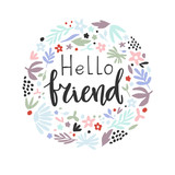 hand-drawn  phrase - hello friend