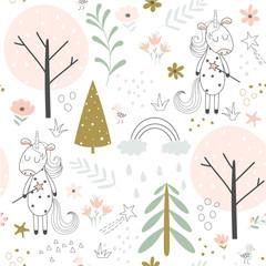 Seamless background with cute unicorn