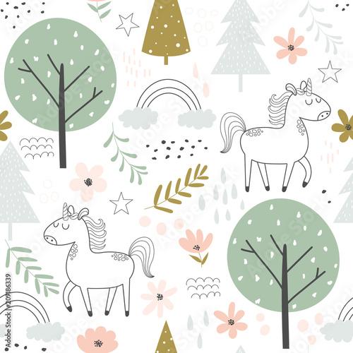 obraz PCV Seamless pattern with unicorns