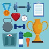 Set Fitness and health icons vector illustration graphic design