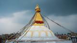 Boudhanath stupa in Kathmandu, Nepal. Stormy clouds in the background.  - 209189702