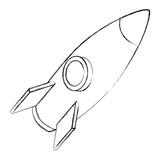rocket space ship travel cartoon vector illustration sketch - 209190931