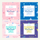 Set of mobile banners. Summer sale. Vector illustration concept for social media banners, marketing material, online advertising. - 209191311