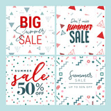 Set of mobile banners. Summer sale. Vector illustration concept for social media banners, marketing material, online advertising. - 209191352