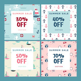 Summer sale. Set of website sale banner templates. Vector illustrations for social media banners, email and newsletter designs, ads, promotional material. - 209191561
