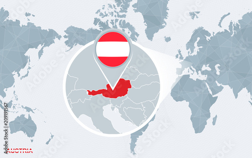 World map centered on America with magnified Austria. | Buy Photos ...