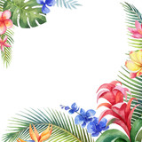 Watercolor vector card with tropical leaves and bright exotic flowers isolated on white background. - 209192348