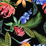 Watercolor seamless pattern of tropical leaves and bright exotic flowers isolated on white background. - 209192378
