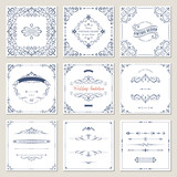 Ornate frames design and scroll elements set. Flourish cards and labels templates. Vector illustration. - 209194908
