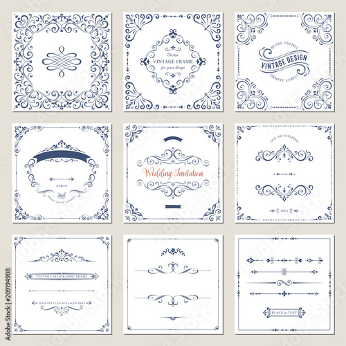 Ornate frames design and scroll elements set. Flourish cards and labels templates. Vector illustration.
