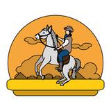 color cowboy riding horse in the desert landscape - 209197160