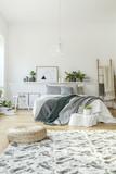 Pouf in modern bedroom interior - 209197980