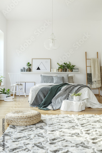 Pouf in modern bedroom interior - 209197980