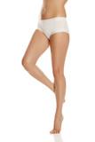 pretty feminine legs and white panties on white background - 209199784